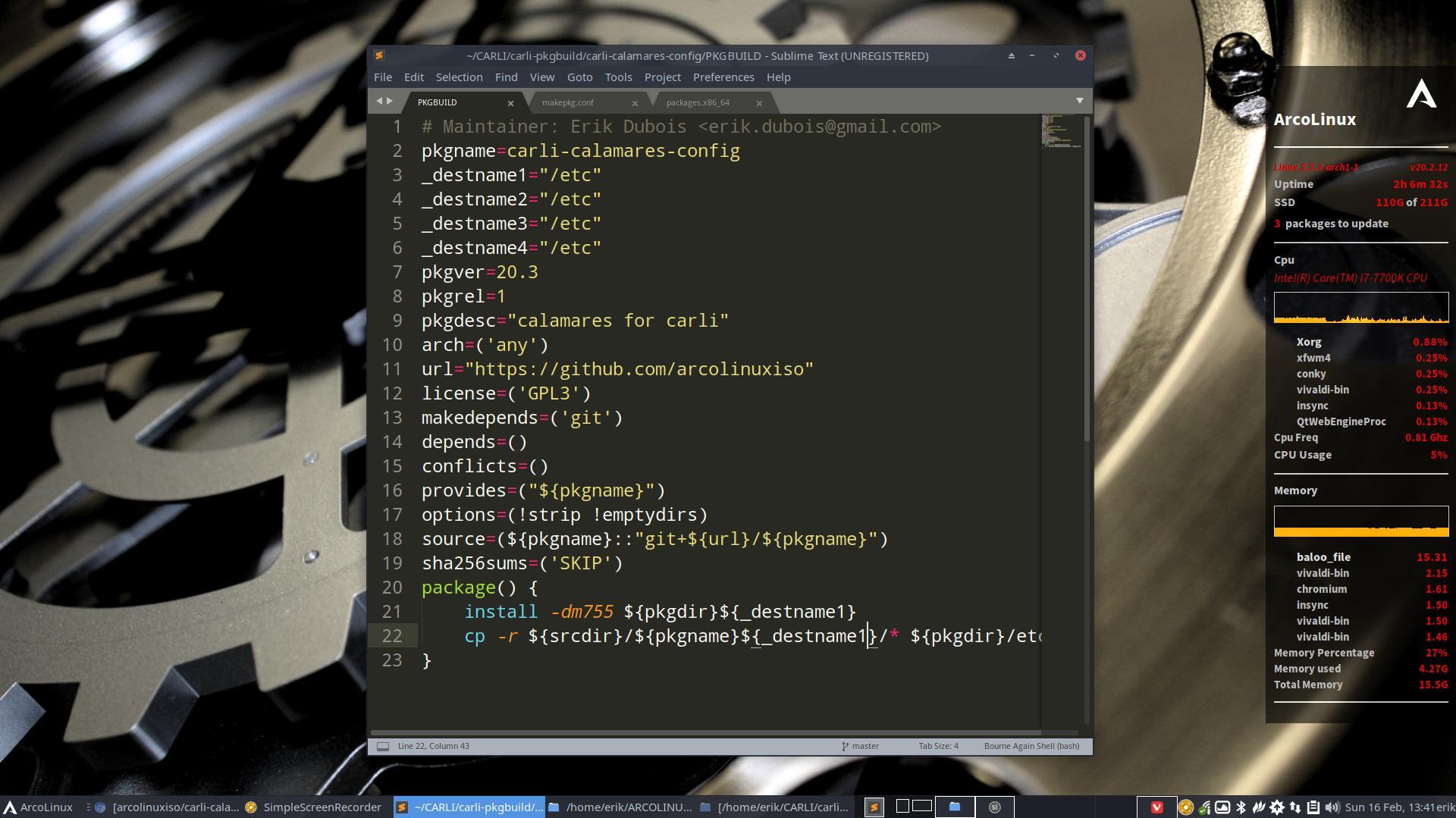 10 Creating a pkgbuild for Calamares config